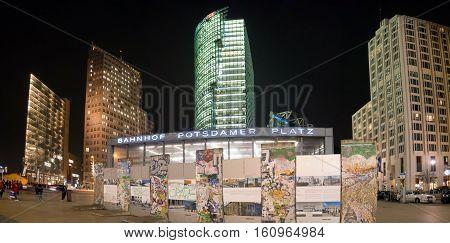 Postdamer Platz At Night In Berlin