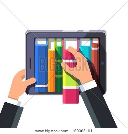 Businessman hands taking out book from a virtual library shelve on a tablet computer or big smartphone. Flat style concept modern vector illustration isolated on white background.