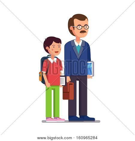 Father professor or school teacher standing with his son or student. Both holding tablet computers and smiling. Flat style modern vector illustration isolated on white background.