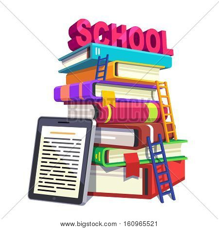 Modern school education and knowledge concept. Huge tower of books with ladders accompanied by tablet computer or e-reader. Flat style modern vector illustration isolated on white background.