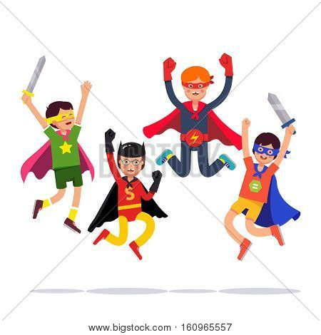 Team of young superhero boys. Kids playing cosplay with improvised costumes, capes and masks pretending to be super humans. Flat style vector illustration isolated on white background.