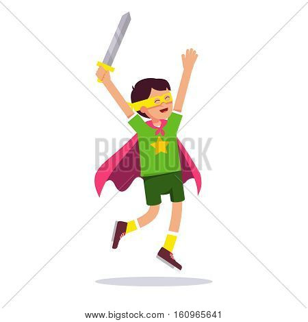 Young superhero boy. Kid playing cosplay with his improvised costume, cape, sword and mask pretending to be super hero star knight. Flat style modern vector illustration isolated on white background.