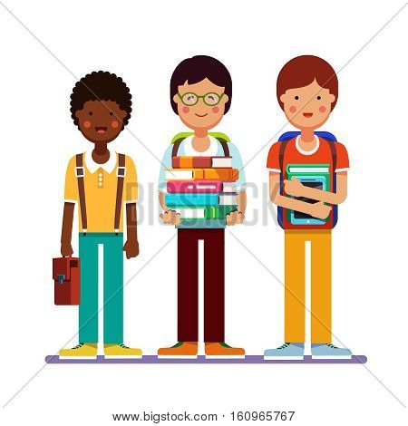 School or college boys teenagers standing together wearing backpacks holding books, textbooks and tablet computers. Kids friendship. Flat style modern vector illustration isolated on white background.