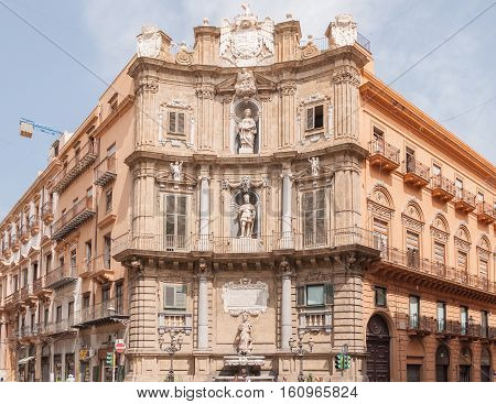PALERMO ITALY - SEPTEMBER 8 2015: View of the Quattro Canti officially known as Piazza Vigliena is a Baroque square in Palermo Sicily Southern Italy.