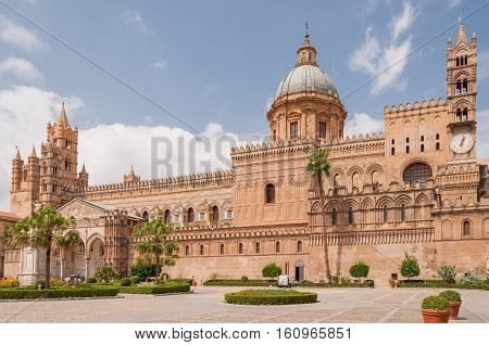 PALERMO ITALY - SEPTEMBER 8 2015: Palermo Cathedral is the cathedral church of the Roman Catholic Archdiocese of Palermo Sicily Italy.