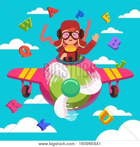 Happy smiling kid flying plane like a real pilot in retro leather flight helmet, scarf and goggles. Learning alphabet and dreaming of aviator profession. Flat style modern vector illustration.