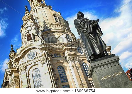 Frauenkirche (Our Lady church) and statue Martin Luther in the center of old town in Dresden Germany