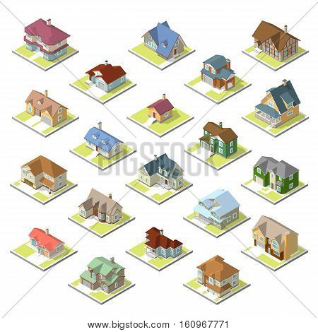 isometric image of a private house set on white background