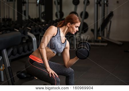 Athletic young woman doing exercises with dumbbells in the gym. Fitness model working out in a gym. Pretty young woman training to stay fit and healthy