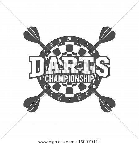 Vintage darts label, logotype, badge and design elements