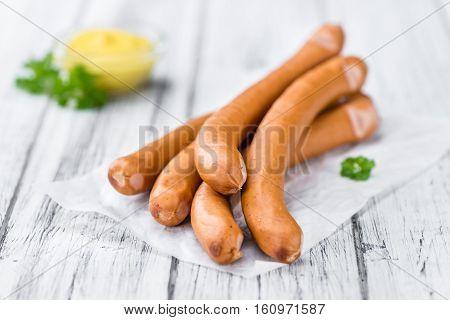 Sausages (frankfurter) On Vintage Wooden Background