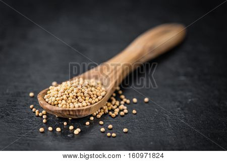 Rustic Slate Slab With Seeds (mustard) (selective Focus)
