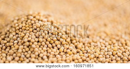 Mustard Seeds on a vintage background as detailed close-up shot (selective focus)