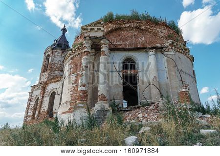 The ruins of an abandoned old castle or manor, or mansion, or church