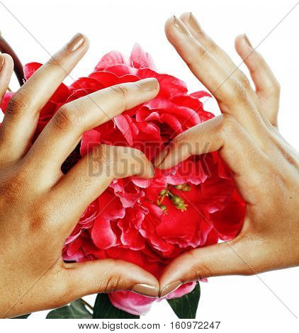 beauty delicate hands with manicure holding flower lily close up isolated on white, spa salon concept perfect