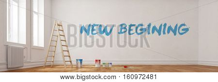 New Beginning written on wall during renovation in a room (3D Rendering)