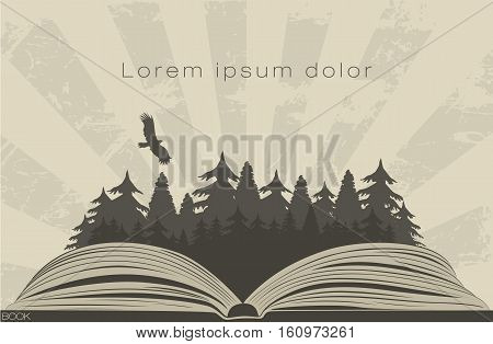 Dark forest in open book with raven