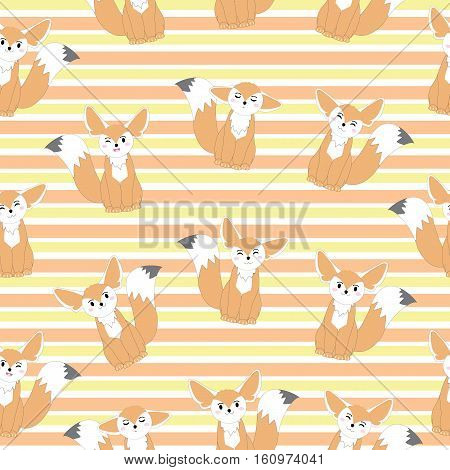 Seamless background of autumn illustration with cute fennec fox on stripes background suitable for kid scrap paper, wallpaper and postcard