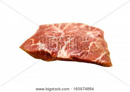 Raw Steak Flat Iron  Beef Lies On A White Background. Marbl