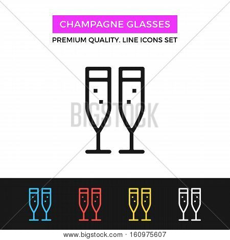 Vector champagne glasses icon. Two champagne flutes with sparkling bubbles. Premium quality graphic design. Signs, symbols, simple thin line icons set for website, web design, mobile app, infographics