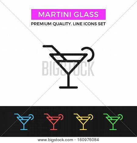 Vector martini glass icon. Cocktail concept. Premium quality graphic design. Modern signs, outline symbols collection, simple thin line icons set for websites, web design, mobile app, infographics
