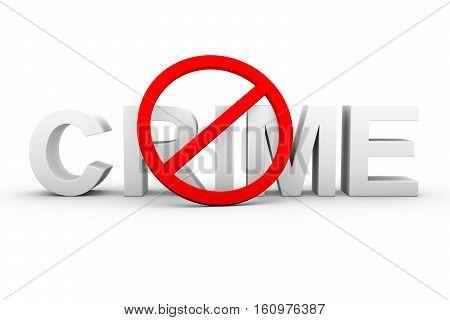 ban on crime white background 3d illustration