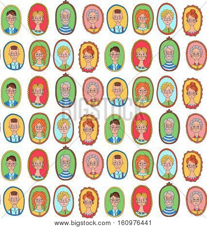 Cute family parents kids children women men portraits faces seamless vector pattern doodles