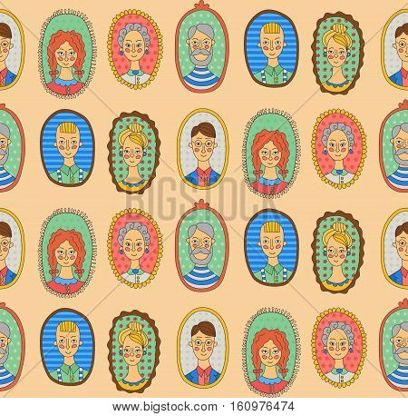 Family people portrets men and women lady gentleman doodles seamless vector pattern