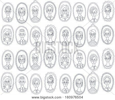 Black and white people characters men women portraits seamless vector pattern
