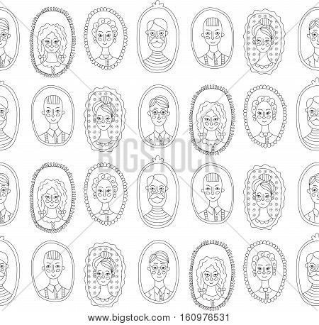 Family people black and white portraits seamless vector pattern