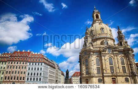 Neumarkt Square at Frauenkirche (Our Lady church) in the center of Old town in Dresden Germany
