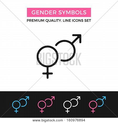 Vector gender symbols icon. Mars and Venus, male and female glyphs. Premium quality graphic design. Modern signs, symbols, simple thin line icons set for websites, web design, mobile app, infographics