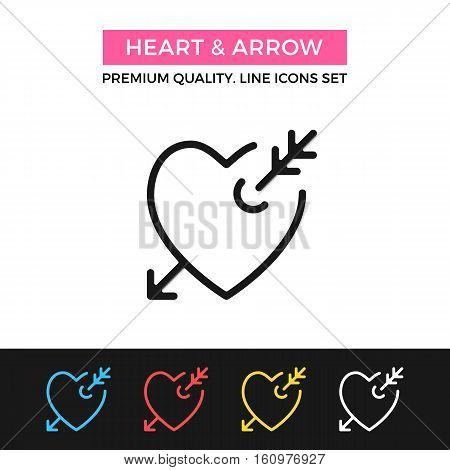 Vector heart and arrow icon. Romantic love, lovestruck concepts. Premium quality graphic design. Modern signs, symbols, simple thin line icons set for websites, web design, mobile app, infographics