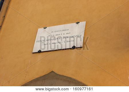 FLORENCE, ITALY - September 23, 2016: The plate on the house where the greatest Russian writer Fyodor Dostoevsky lived. Place of writing the novel The Idiot