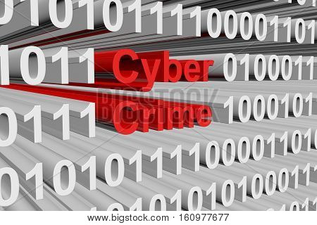 Cyber crime in the form of binary code, 3D illustration