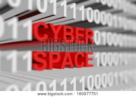 Cyber space is represented as a binary code with blurred background 3d illustration