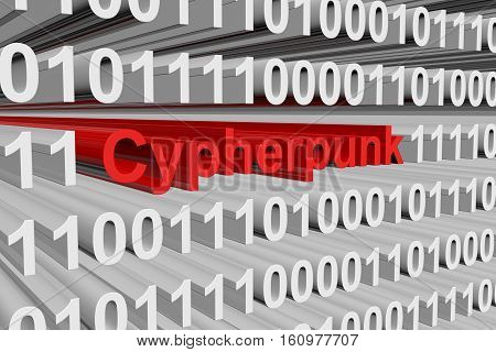cypherpunk in the form of binary code, 3D illustration
