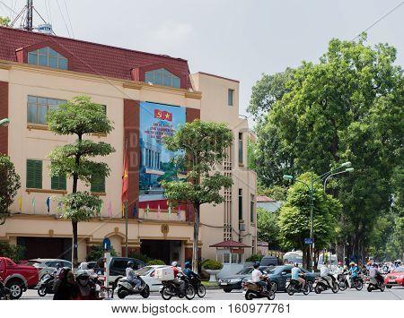 Vietnam, Hanoi - October 21, 2016: Vietnam, Hanoi Population and scooter traffic in the downtown of Hanoi