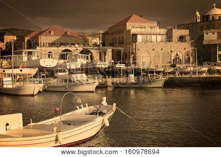 A view of the Batroun's fishing port a Lebanese coastal town in the afternoon.