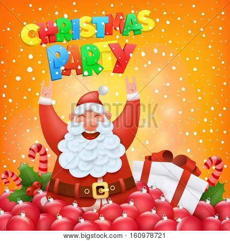Christmas party invitation card with funny santa claus character Vector illustration