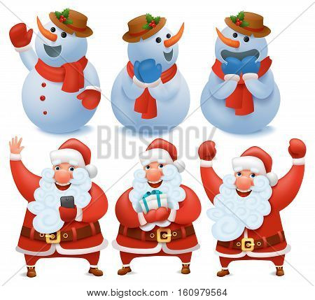 New year big set with santa claus and snowman cartoon characters. Vector Illustration