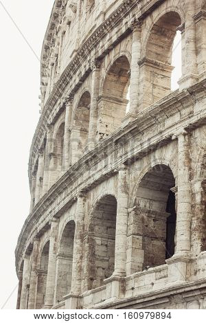 Colosseum, Rome Italy. Close-up of architectural structures