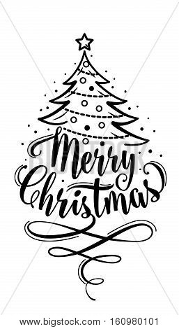 Vector illustration of merry christmas lettering text sign. Hand drawn holiday congratulation greeting template for xmas design. Christmas decoration with swirl symbol and fir-tree isolated on white
