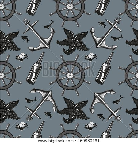 Seamless pattern with anchor and whell. for travel and adventure. Black and white elements.