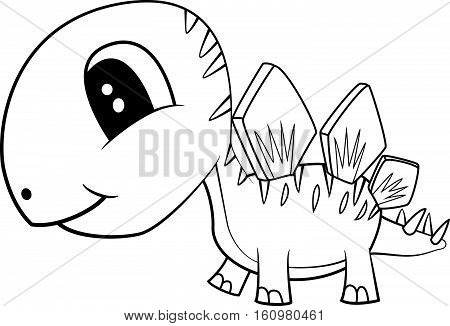 Illustration of Cute Black and White Cartoon Baby Stegosaurus Dinosaur. Vector EPS 8.