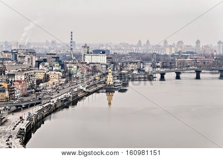 View Of The Fall Kyiv, Skirts, Dnieper River, St. Nicholas Church, Ukraine