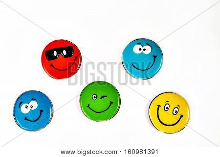 gingerbread painted colorful smilies in different expressions isolated.