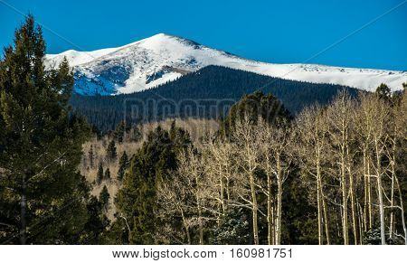 Winter Mountain Landscape at Angel Fire , New Mexico a Snow Covered Rocky Mountain scene with Aspen Trees in the foreground and a Perfect Winter in the Rockies Blue bird day