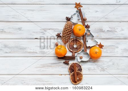 Stylized Christmas Tree With Tangerine, Cinnamon Sticks, Star Anise, Candied Fruit And Spices. Spicy