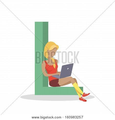 Gadget alphabet. Letter - L. Woman with laptop sitting on letter. Modern youth with electronic gadgets. Social media network connection. Simple colored letter and people with electronic devices